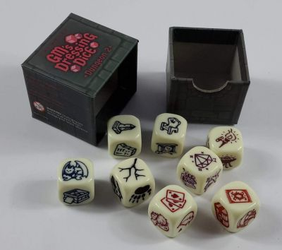 Just got my GM's Dressing Dice. They're pretty cool. Need a bit more decoration for your room. Pick out the dice for the type of room you're in (dungeon, crypt, house, etc.) roll them and add some flair.  You enter the next room of the ruin and find *rolls dice* that it is completely overgrown with plants and vines, light streams through some cracks and holes in the ceilings and walls. One beam of light illuminates an old cracked ceramic pot on the far wall.  https://pbs.twimg.com/media/DjS5o06WwAAeVjG.jpg