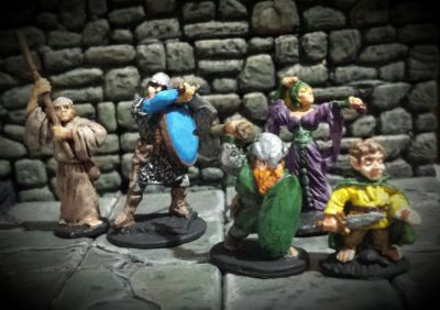 An old school adventuring party. All minis from the 1970s.
