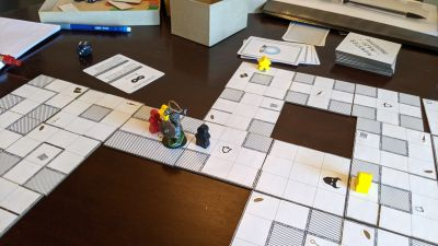 Our latest playtest of a dungeon-crawling tile-laying board game I am creating.