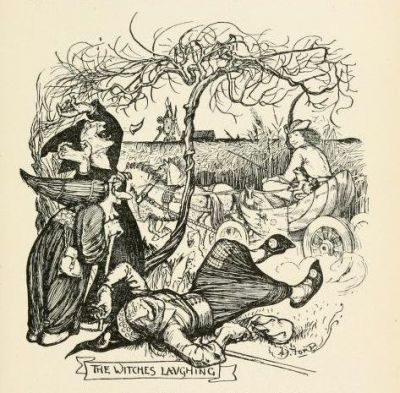 Three witches laughing. Here's some artwork from the Violet Fairy Book that's public domain.
