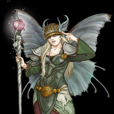 A picture of a Sylph by Kathrin Poliket. Her illustrations are from the Battle For Wesnoth computer game. All of the Battle For Wesnoth artwork I'm posting is licensed either GPL or Creative Commons Attribution.  This image is GPL and there are three versions of it at the link.  https://commons.wikimedia.org/wiki/File:Wesnoth_Sylph_(Kathrin_Polikeit).png