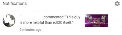 This is the kind of comment I like to see. YouTube sent me this in email and as a notification when I'm on YouTube, but now I don't see the comment.  YT being YT, or did the user delete it?  Either way, glad I got a screenshot.