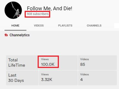 I just reached 100,000 views on my YouTube channel. Only 96 more subscribers to reach 1,000!  https://www.youtube.com/c/Followmeanddie